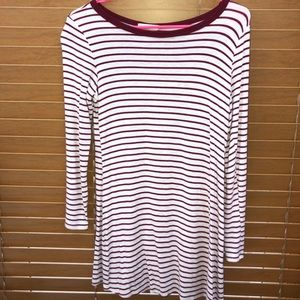 Red striped long sleeve dress